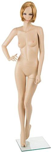 Displays2go Female Mannequin with Short Blonde Wig, Fiberglass Body, Tempered Glass Base – Fair Skin Tone, Light Hair (FFMSBLW) - Fibreglass Body