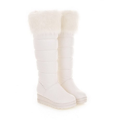 AmoonyFashion Womens Low-Heels Solid Round Closed Toe Soft Material Pull-on Boots White WQHJr