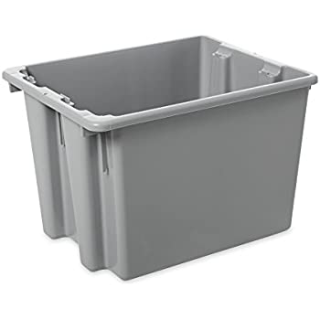 Rubbermaid Commercial HDPE Stack and Nest Palletote Storage Tote Box, 1-2/5-Cubic Feet, Gray, FG172200GRAY