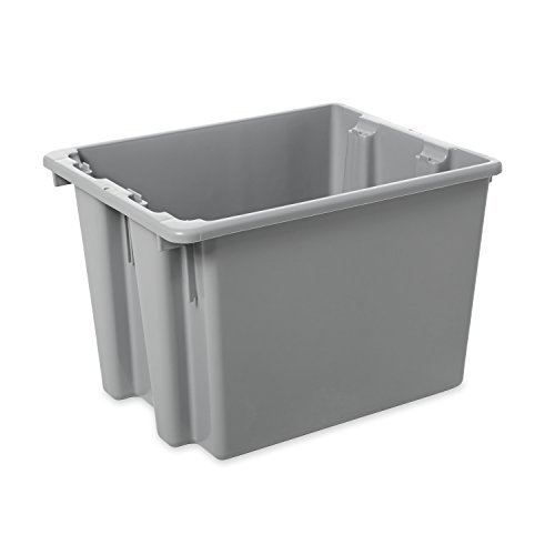 - Rubbermaid Commercial HDPE Stack and Nest Palletote Storage Tote Box, 1-2/5-Cubic Feet, Gray, FG172200GRAY