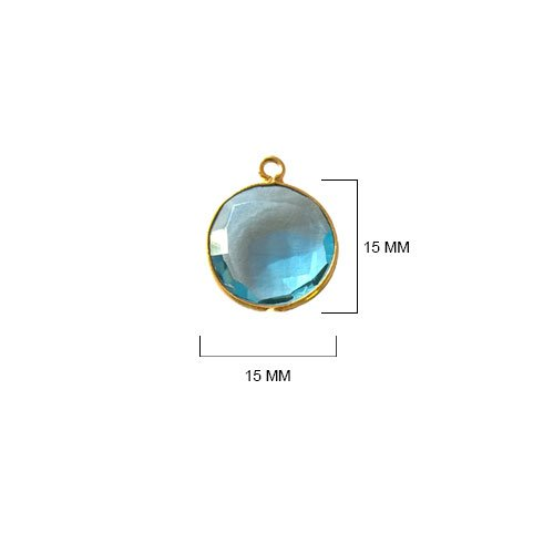 (4 Pcs Blue Topaz Coin Beads 15mm 24K gold vermeil by BESTINBEADS, Blue Topaz Hydro Quartz Coin Pendant Bezel Gemstone Connectors over 925 sterling silver bezel jewelry making)