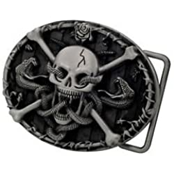 Skull And Crossbones With Snakes Scary Belt Buckle Unique Cool Gothic Goth by Buckle
