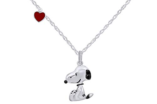 AFFY Snoopy Red Enamel Heart Black Cubic Zirconia Pendant in Sterling Silver