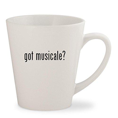 got musicale? - White 12oz Ceramic Latte Mug Cup (Para Musicales Ni??os Teclados)