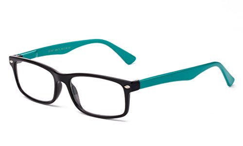 Newbee Fashion - Unisex Translucent Simple Design No Logo Clear Lens Glasses Squared Fashion Frames Black/Teal