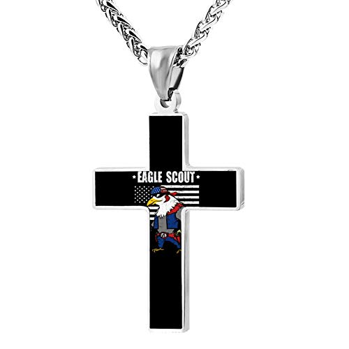 M100% 2018 Eagle Flag Scout Metal Religious Zinc Alloy Stainless Silver Steel Cross Necklace Holder Pearl Chain Urn Pendants