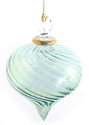 Egyptian Museum Spiral Teardrop with Gold Accent Ornament - - Design Glass Pyrex Spiral