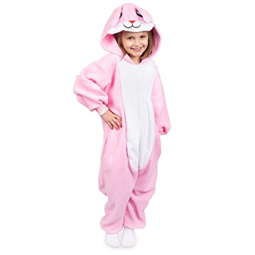 Emolly Fashion Kids Animal Bunny Pajama Onesie - Soft and Comfortable with Pockets (6, Bunny) Pink/White]()