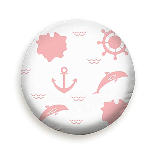 MAYUES Dolphins Anchors Steering Wheels Animals Wildlife Advertising tire Cover Wheel Covers for Jeep Trailers Rvs Suvs Trucks and Many Vehicles(14 15 16 17 Inch)