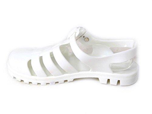 Kinder Mädchen mittlerer Damen Niedrig Größe Sandalen Gummi White Schuhe Retro 60 ausgeschnitten Gladiator Jelly Blockabsatz wFxwRq