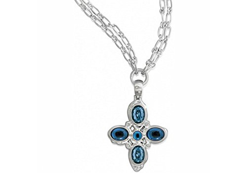 Brighton Versailles Neptune Blue German Glass Cross Silver Chain - Brighton Chain Glasses