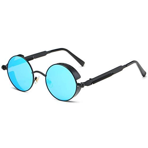 Dollger Vintage Steampunk Sunglasses for Women Men Retro Metal Round Circle Frame Sunglasses(Ice blue lens/Black frame)