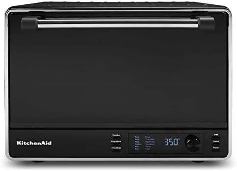 KitchenAid KCO255BM Dual Convection Countertop Toaster Oven, 12 preset cooking purposes to roast, bake, fry foods, muffins, grill rack, baking pan, Digital show, non-stick inside, Matte Black
