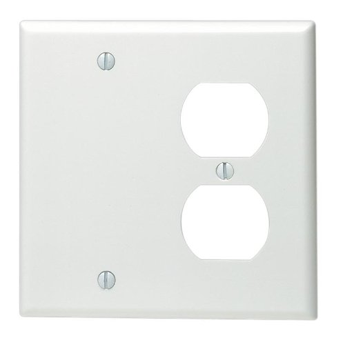 Leviton 88008 2-Gang 1-Duplex 1-Blank Device Combination Wallplate, Standard Size, Thermoset, Box Mount, White