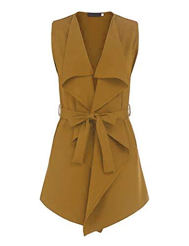 (UAUNG Women's Lapel Sleeveless Waistcoat Blazer Vest Cardigan with Belt (Yellow,XXL))