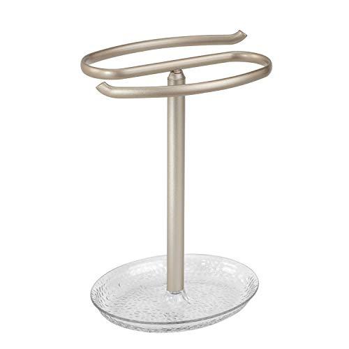mDesign Bathroom Hand Towel Holder Jewelry Tray Vanity Countertops - Clear/Satin