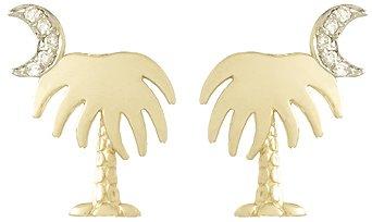 14k Gold Travel .06 Dwt Diamond Accent Charleston Palm Tree With Moon Post Earri