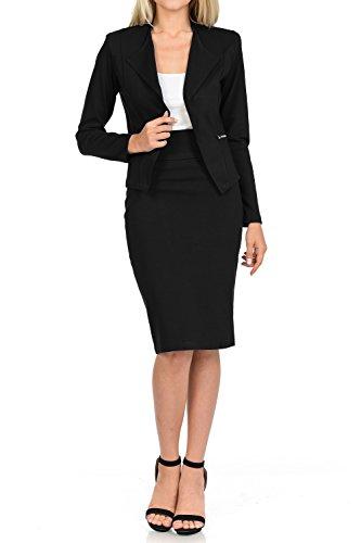 (Sweethabit Womens Wear to Work Solid Skirt Suit Set (Large, 3125S-3125n_Black))