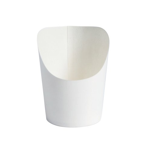 Disposable Mini Fries or Wrap Cup (Case of 500), PacknWood - White Paper Food Containers French Fry Holder (2 oz, 1.65