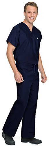 Unisex Reversible Drawstring Scrub Pants SHORT by - Reversible Scrub Cotton Pants