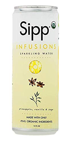 Sipp Sparkling Organic Pineapple Breeze Infusions Sparkling Water |  Refreshing Pineapple, Vanilla