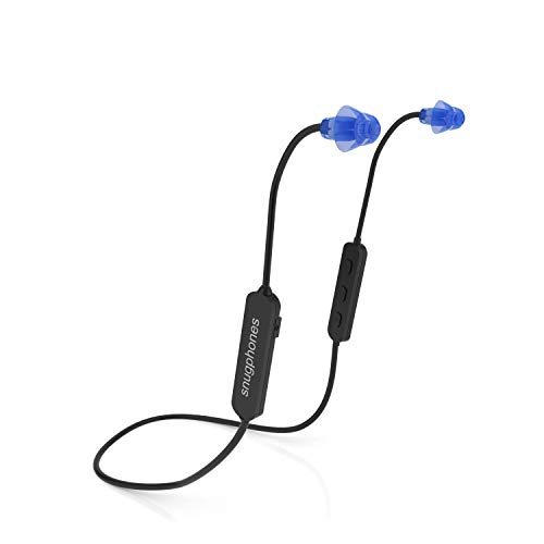 Snug Phones wireless silicon BLUETOOTH ear plug headphones. Noise cancelling IPX6 waterproof heavy duty cord noise isolating ear buds. Motorcycle Workouts and high movement activities