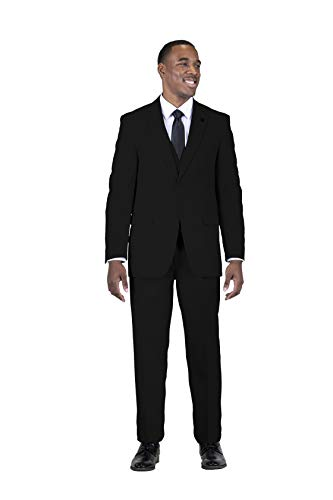 STACY ADAMS Men's 3 Piece Single Breasted Notch Lapel Solid Suit Jet Black