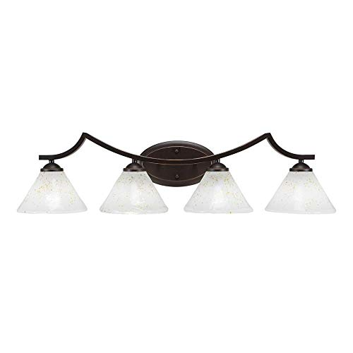 "Toltec Lighting Zilo 4 Light Bath Bar, 7"" Pewter Tiffany Glass"