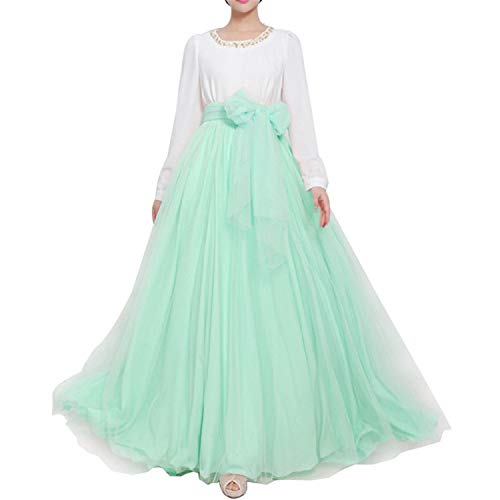 (Women Wedding Long Maxi Puffy Tulle Skirt Floor Length A Line with Bowknot Belt High Waisted for Wedding Party Evening (Mint, Plus Size,US 16-26W))