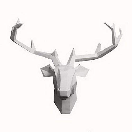 Yunno White Faux Taxidermy Resin Deer Head in Animal Head Wall Decor Deer Head Wall Mount Sculpture (White) (Deer White Heads)