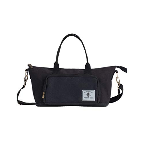 Humble-Bee Lightweight Black Diaper Bag Compact Expandable Stylish Mommy Organizer Water Repellant Tote with Removable Shoulder Strap and Stroller Straps - Mini Charm Onyx