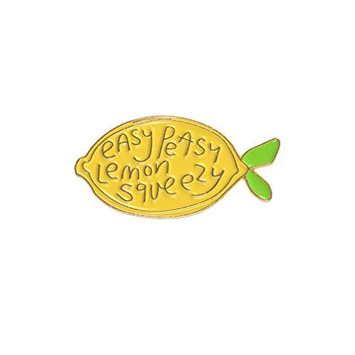 Lemon Enamel - andy coolBrooch Cartoon Lemon Enamel Letters Brooch Fruit Pin Backpack Decor Clothing Decoration Jewellery Dress Ornament Useful and Practical
