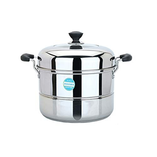 - MUZIWENJU Household Stainless Steel Steamer 28cm/34cm, Single Layer/Two-Layer Steamer, Composite Bottom, Induction Cooker Gas Stove Safety (Size : 34cm)