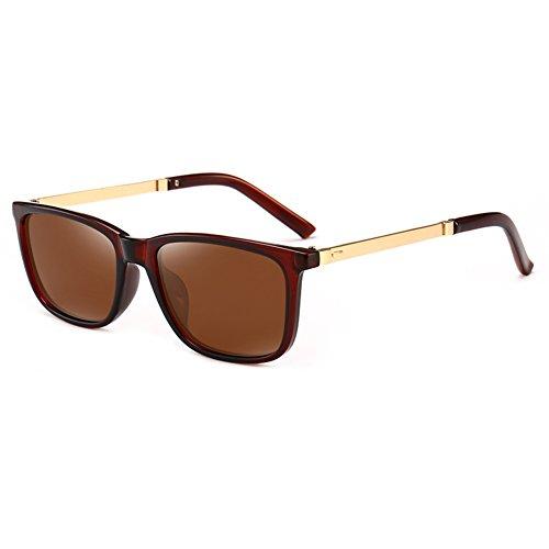 Gafas Retro Gafas Marrón De UV oscuro Cuadrada Luz Hombres Protección Color Protección Clásico Aire Sol Verde Anti Libre 100 WYYY Conducción Caja Polarizada Solar UVA De Gafas FOCqwxnI