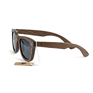 Real Solid Handmade Wooden Sunglasses for Men, Polarized Lenses with Gift Box (Walnut)