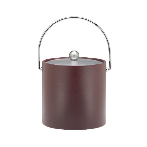 Kraftware Ice Bucket with Chrome Lid, Bale Handle and Astro Ball Knob, Brown - 3 Quart