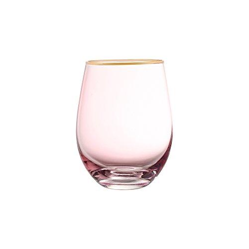 Fifth Avenue Crystal 229352-4ST Vivienne Stemless Goblets (Set of 4), Pink/Gold