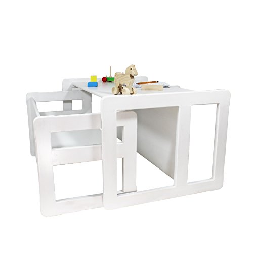 3 in 1 Childrens Multifunctional Furniture Set of 2, One Small Bench or Table and One Large Bench or Table Beech Wood, White Stained by Obique Ltd