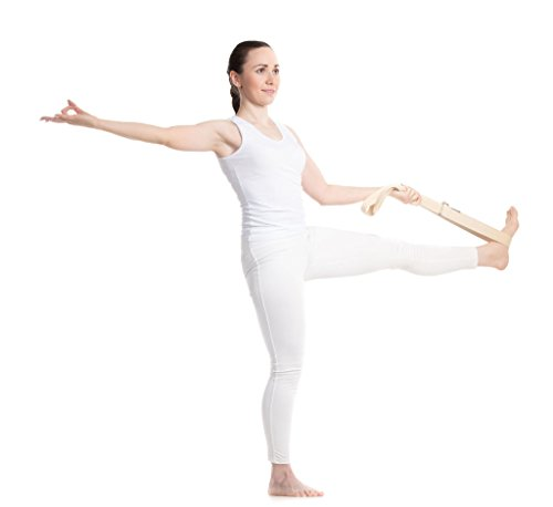 Dancina Yoga Strap 8ft with Steel D-Ring Pure Durable Cotton Natural White