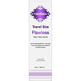 Fake Bake Flawless Travel Size Self-Tanning Liquid Spray | Streak-Free Lasting Sunless Glow For All Skin Tones | Black Coconut Scent | Includes Professional Tanning Mitt To Ease Application | 3 oz