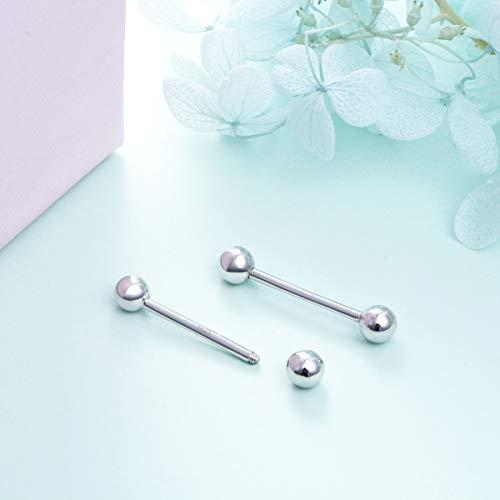 DAOCHONG Sterling Silver 14G Tongue Ball Body Piercing Screw Rings Barbells 16mm 2pcs by DAOCHONG (Image #1)