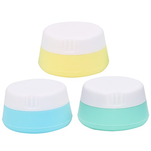 Price comparison product image Rockrok Travel Containers, Squeezable Toiletry Containers TSA Approved Silicone Cream Jar with Sealed Lids for Cosmetics, Shampoo, Lotion, Conditioner ( Pack of 3 )