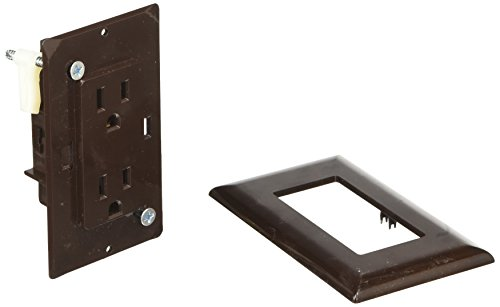 RV Designer S815, Self Contained Dual Outlet with Cover Plate, Brown by RV Designer Collection