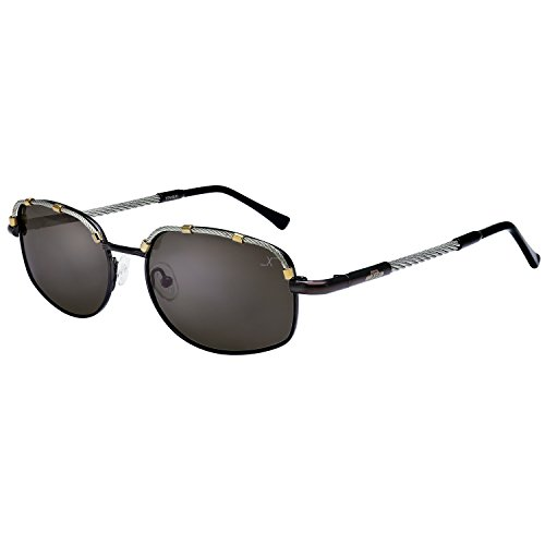 Xezo UV 400 Titanium Polarized Aviator Glasses with Steel Cable Wire, Dark Grey Metallic, 1 - Oakley Lenses Be Can Replaced