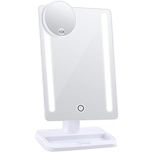 BESTOPE 24 LED Makeup Mirror 12 inch Larger Vanity Mirror, Detachable 10X Magnifying Mirror,Touch Screen,Dimmable Light,180° Adjustable Rotation,Battery and USB Powered by BESTOPE