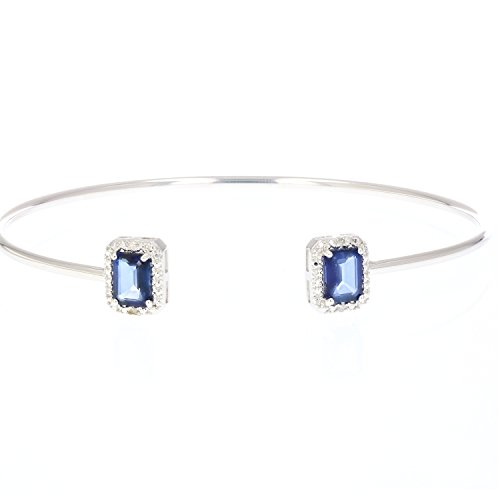 Vir Jewels Created Blue Sapphire Cuff Bangle With Rhodium Plating (1.50 CT) by Vir Jewels