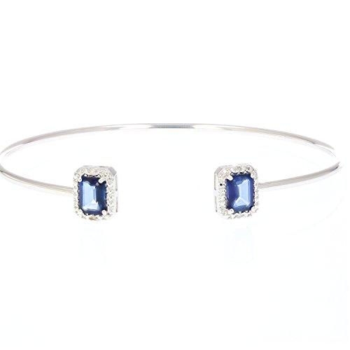 Vir Jewels Created Blue Sapphire Cuff Bangle With Rhodium Plating (1.50 CT)