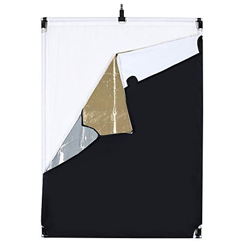 OPEN DRAWER Sun Scrim 2.95 x 3.9 feet / 35 x 47 inch 5in1 Panel Sun Scrim Translucent Soft Cloth and Gold/Silver/Black/White Diffuser Reflector Aluminum Alloy Frame Compatible Video Photography by OPEN DRAWER (Image #2)