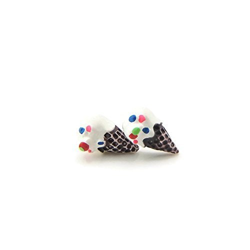Vanilla Ice Cream Cone Earrings with Sprinkles on Plastic Posts for Sensitive Ears