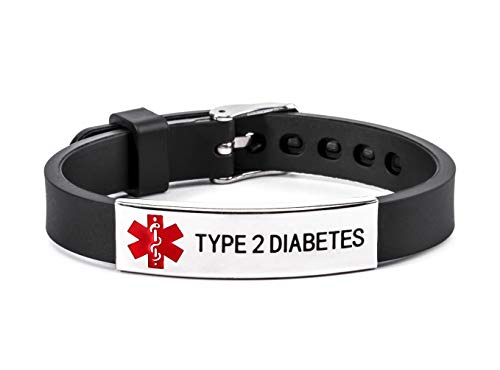 Type 2 Diabetes Medical Alert ID Bracelet Stainless Steel and Silicone Wristband Black for Men Women